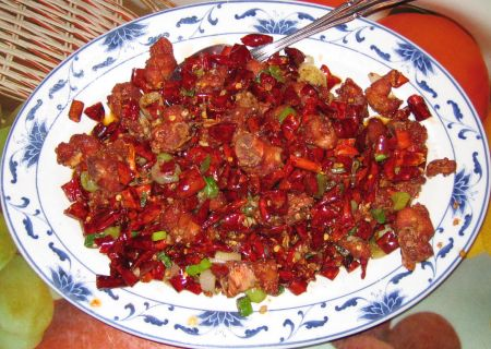 Szechuan chili chicken (with bone left in)