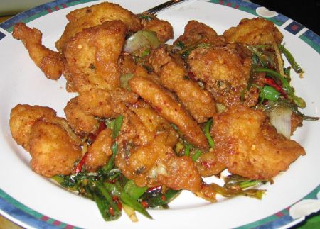Szechuan scallion fried fish