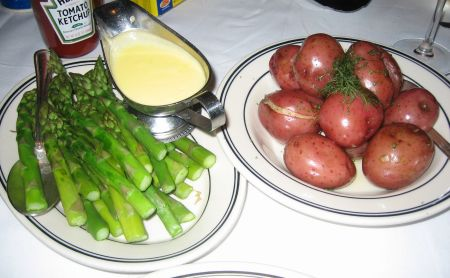 Asparagus and whole red potatoe sides at The Oceanaire